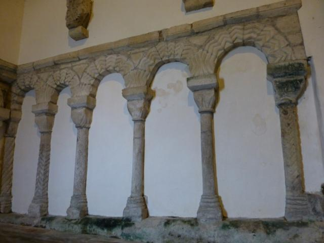 Wall arcading in the south transept of St Seiriol's Church, Penmon