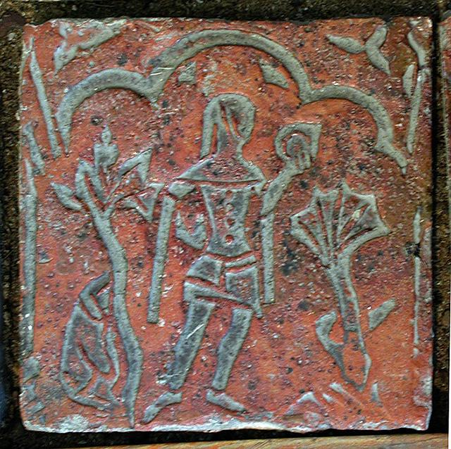 Man With a Mirror Tile, Museum, Strata Florida Abbey